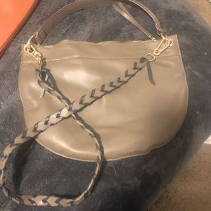 Handbags - Taupe Faux Leather Purse with cute strap